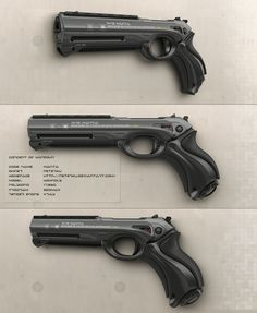 After Shax ([link]) and Elah ([link]), 3th concept of sci-fi energy handgun in row. This version is covered into dark color and has triangle barrel. Modeling and rendering is made in 3ds max + vray...