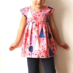 The Geranium Dress is a sweet and incredibly versatile dress pattern that includes two views and endless possibilities for mixing and matching! Sizes 0-5T. http