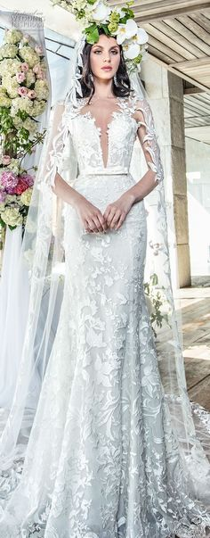 yumi katsura spring 2019 bridal sleevless thick lace strap deep plunging sweetheart neckline full embellishment elegant sexy trumpet wedding dress chapel train (3) lv -- Yumi Katsura Couture Spring 2019 Wedding Dresses | Wedding Inspirasi #wedding #weddings #bridal #weddingdress #bride ~
