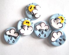 Items similar to Button Hello Sunshine handmade polymer clay buttons ( 6 ) on Etsy Polymer Project, Polymer Clay Projects, Polymer Clay Creations, Handmade Polymer Clay, Clay Crafts, Button Art, Button Crafts, Biscuit, Diy Buttons