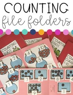 These counting file folders are a great way to teach, practice, or reinforce counting skills with your students! Perfect for pre-k, kindergarten, and special education! Kindergarten Special Education, Autism Education, Autism Classroom, Special Education Teacher, Kindergarten Math, Autism Teaching, Toddler Classroom, Classroom Setup, Toddler Learning