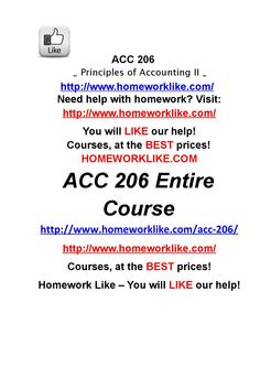Acc 206 entire course principles of accounting ii