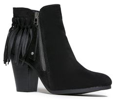 Fringe Ankle Boot- Western Cowgirl Bootie - Trendy Zipper Pull Heeled Boot - Low Heel Suede. PERFECT FIT AND STYLE: Versatile, fringe ankle boots have a simple, sleek upper made out of vegan suede and a low, stacked heel adds some inches to your look. Perfect for festivals and year round wear! Zipper Pull detail adds a trendy touch to elevate your outfits. ENDLESS OUTFIT COMBINATIONS: Outfit and pair these boots from dusk until dawn! From jeans to shorts, dresses and skirts of any length...