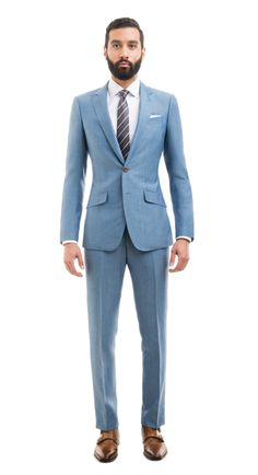 BlackLapel | Light Blue Wool Linen Suit