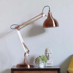 Copper Angled Table Lamp x Classic anglepoise table lamp finished in beautifully aged brushed copper. Copper Lamps, Copper Decor, Copper Table, Industrial Design Furniture, Industrial Table, Room Lamp, Desk Lamp, Lamp Table, Cool Bedside Tables