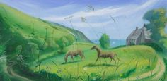 NICHOLAS HELY HUTCHINSON  Horses at Whitecliff Farm Oil on board 12 x 24 ins