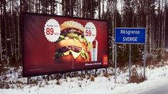 スウェーデンとノルウェーの国境でのマクドナルドの看板広告