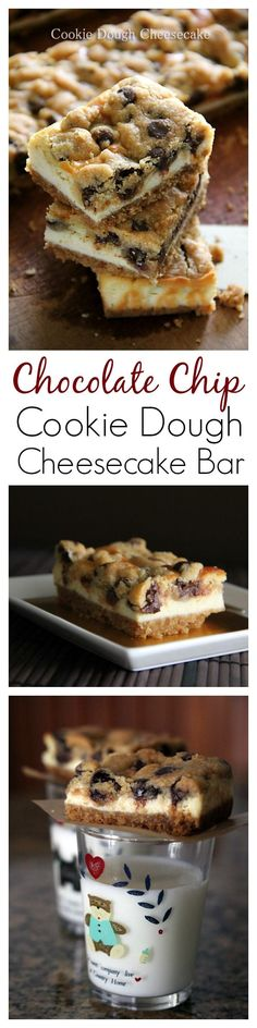 Chocolate Chip Cookie Dough Cheesecake Bar recipe, the BEST cheesecake bar EVER . That's my kind of snack! Cookie Dough Cheesecake, Cheesecake Recipes, Cheesecake Bars, Cookie Recipes, Cookie Dough Desserts, Think Food, Love Food, Bon Dessert, Dessert Bars