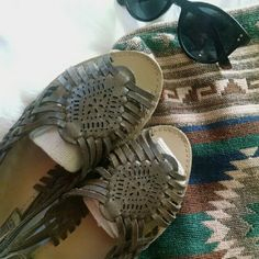Leather huarache sandals Soft, cute brown leather sandals.  Slip on style. Shoes Sandals