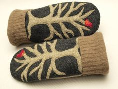 Wool Mittens Sweater Mittens Up Cycled Wool with Tree and Birds Applique Fleece…