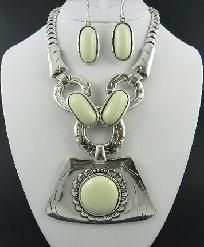 Silver and White Stone Necklace and Earring Set - Free Shipping  http://yardsellr.com/for_sale#!/silver-and-white-stone-necklace-and-earring-set---free-shipping-2497485