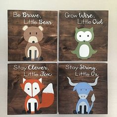 6 Woodland Animal Nursery Signs Nursery Decor Baby Shower Gift or Baby Decor Clever little fox nursery accessories trendy family must haves for the entire family ready to ship! Free shipping over $50. Top brands and stylish products