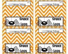 Spider Legs Printable Halloween Treat Bag Toppers! 4.5 x 4 Great size for 4 wide cello bags! Fill bags with a fun treat and add the cute