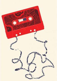 Cassette - HelloMarine Technique: Giclée print Papier: Fine Art 300 gr Format: 29,7x42 cm Tirage: 50 ex Edition numérotée Signé par l'artiste