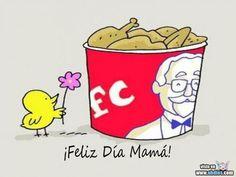 Feliz día mamá, el pollito, le da una flor, la cubeta, el pollo frito