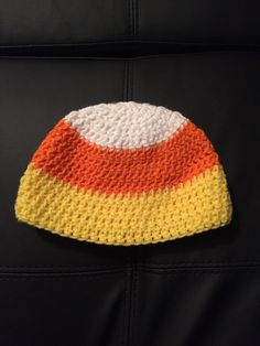 Candy corn crocheted hat by CraftyDiva23 on Etsy