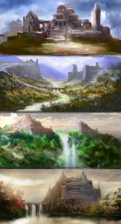 ancient fantasy city. They beg to have stories written.