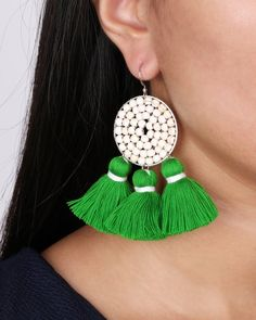 Boho White Beaded Green Tassel Earring JE077 Green Tassel Earrings, Big Earrings, White Earrings, Beaded Earrings, Earrings Handmade, Crochet Earrings, Boho Jewellery, Jewelry, White Beads