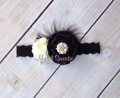 Black and ivory rosette cluster headband- Newborn Headband-  Baby Girl Headband - Toddler Headband - Adult Headband