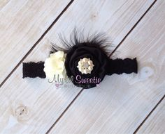 Black and ivory rosette cluster headband- Newborn Headband-  Baby Girl Headband - Toddler Headband - Adult Headband