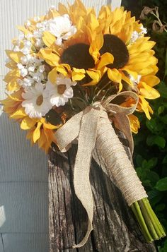 brides maids nice contrast to dresses Sunflower Bridal Bouquet Sunflower Bouquet by SilkFlowersByJean