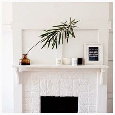 white brick mantel