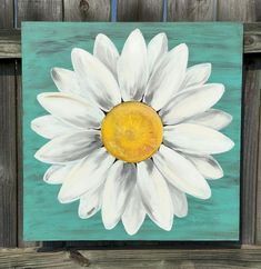 Original Daisy Painting on a Wood Panel Turquoise Blue Distressed Flow.,Original Daisy Painting on a Wood Panel Turquoise Blue Distressed Flower Art Original White Daisy Painting. This painting is approximat. Cute Canvas Paintings, Small Canvas Art, Easy Canvas Painting, Mini Canvas Art, Simple Acrylic Paintings, Painting Flowers, Flower Canvas Paintings, Painting Art, Blue Canvas