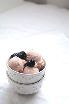 White Chocolate Blackberry Ice Cream  I need to break out the ice cream attachment for my Kitchen Aid.
