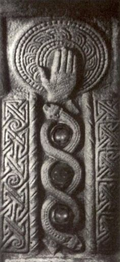 Celtic stone marker, with a Serpent Body, Falcon and Lion Heads on either end. (Same symbols we see in Egyptian, Sirian, Sumerian, Annunaki, and almost all other cultures of the World     ...coincidence? I think not).