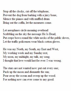 """""""Stop all the Clocks"""" - W.H. Auden"""