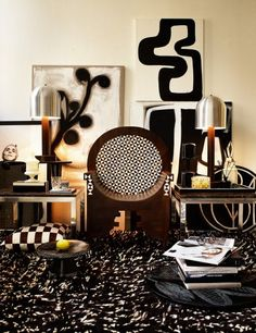 Birger1962 · Design · Interior · Art Black And White Living Room, Black And White Frames, Black And White Abstract, White Art, Brown Art, Malene Birger, Art Decor, Decoration, Home Decor