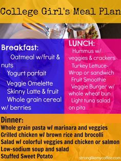 A few healthy meal plans for the college workout girl. #workout #mealprep #healthy