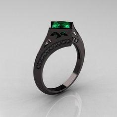 Exclusive French 14K Black Gold 1.23 CT Princess Emerald Diamond Engagement Ring R176-14BGDEM. $2,149.00, via Etsy.