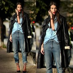 #stealthelook #look #looks #streetstyle #streetchic #moda #fashion #style #estilo #inspiration #jeans #couro #sobretudo #trenchcoat #camisa #calça #scarpin #Maryjane