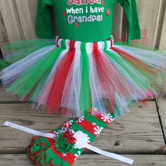Baby Girl Christmas Outfit - Who Needs Santa- sewn Tutu,  Onesuit, headband,  leg warmers,  five piece set, gift holiday
