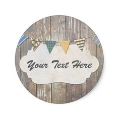 Blank Rustic Wood Nautical Bunting Packaging Classic Round Sticker