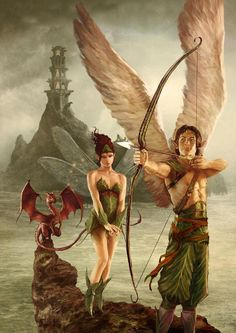 Elf/fey adventurers and their dragonling. This picture makes me want to know more - Who are they? How do they know/possess a dragonling? What is that tower in the background? Why is she looking so coy when he is about to smugly shoot something?