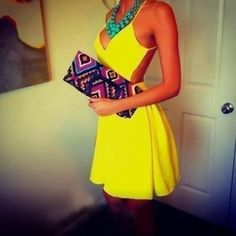 This is the cool dress in summer,very sexy with backless,slim fitting design.bright yellow color make your energetic perfomance,match with accessories will make you look more fashion and elegance.