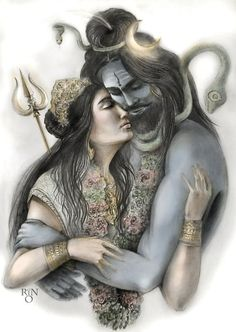 48217447 Shiva and Parvati by RinRio on DeviantArt (With images) Shiva Shakti, Rudra Shiva, Shiva Parvati Images, Mahakal Shiva, Shiva Art, Hindu Art, Durga Kali, Lord Shiva Statue, Lord Shiva Pics