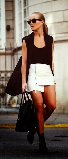 Black and white outfit with asymetrical white skirt