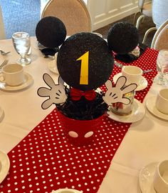 Adorable centerpieces for this Mickey Mouse First Birthday! #MickeyMouse #FirstBirthday #Events #Disney #BaskingRidge