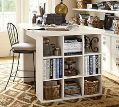 Francisco Draft Desk, Office Desk | Pottery Barn Craft Room Desk, Diy Desk, Cube Shelves, Cube Storage, Paper Storage, Office Storage, Craft Storage, Storage Ideas, Cubes