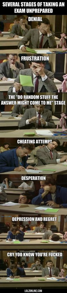 Several Stages Of Taking An Exam Unprepared... #lol #haha #funny
