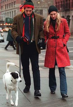 The Timeless Style of JFK Jr. Jan. 1, 1997: John and wife Carolyn with pup on New Year's Day in New York City