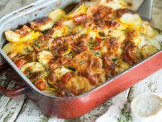 Zucchini-Kartoffel-Auflauf mit Ziegenkäse