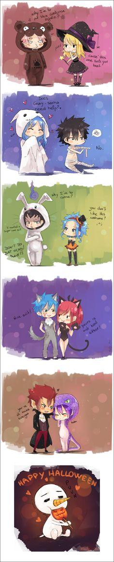 Fairy Tail - Natsu x Lucy, Gray x Juvia, Gajeel x Levy, Jellal x Erza, Cobra x Cinana - Happy halloween