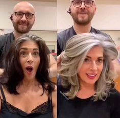 Before and After: Colorist Helps Client Say Goodbye to Black Box Color and Hello. - Before and After: Colorist Helps Client Say Goodbye to Black Box Color and Hello to Natural Silver - Long Gray Hair, Hair Color For Black Hair, Grey Hair Dye, Gray Hair Women, Curly Gray Hair, Grey Hair Over 50, Grey Hair With Black Streaks, Grey To Black Hair Naturally, Best Gray Hair Dye
