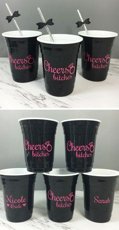 Hot pink and black bachelorette party cups. Add each girls name to the opposite side for a fun surprise party favor.