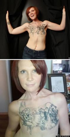 Mastectomy Tattoos: meet some amazing cancer survivors who chose body art instead of reconstructive surgery. Breast Cancer Tattoos, Breast Cancer Survivor, Scar Tattoo, Chest Tattoo, Life Tattoos, Body Art Tattoos, Body Painting, Scar Cover Up, Survivor Tattoo