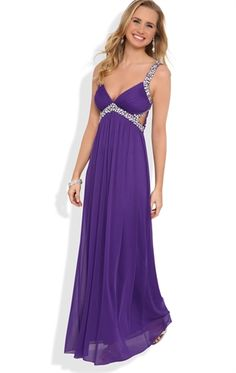 Long Prom Dress with Stone Straps and Waist with Side Cutouts (Debs)